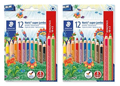 Staedtler Noris Super Jumbo - Lápices de colores (12 colores brillantes y un sacapuntas)
