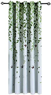 1 Panel Half Blackout Curtain Grommet Drape for Bedroom Green Leaves Birds Pattern Silver Metal Rings Curtains for Living ...