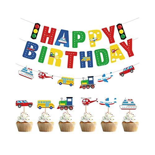 Amosfun Fijne Verjaardag Bunting Banners Garland Vervoer Cupcake Toppers Auto Bus Trein Vliegtuig Schip DIY Cupcake Toppers Verjaardag Party Decoraties benodigdheden