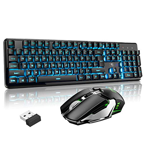 Rechargeable Keyboard and Mouse,Suspended Keycap Mechanical Feel Metal Panel Gaming Keyboard Mouse Combo,3800mAh Large Capacity Lithium Battery,Anti-ghosting Black