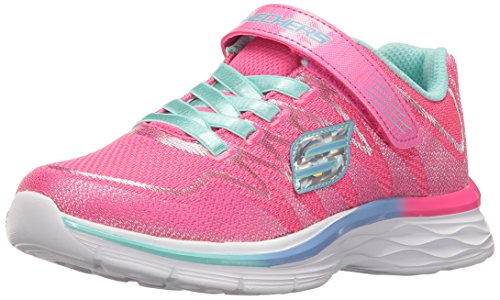 Skechers Kids Girls' Dream N'dash-whimsy Sneaker,Neon Pink/Aqua, 2.5 M US Little Kid