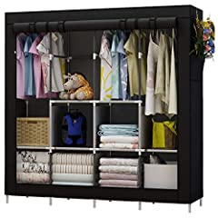 STURDY CONSTRUCTION: Made from non-woven cover, water-proof fabric tiers, high quality steel tube, PP plastic connectors, and the steel poles added to the sides and back, the wardrobe is more durable and sturdy. SPACIOUS STORAGE: The portable wardrob...