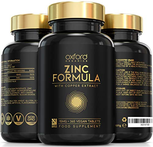 Vegan Zinc Tablets High Strength | 365 Tablets (12 Month Supply) | Zinc Supplements | 1 Easy to Swallow Zinc Gluconate and Copper Tablet per Day | Zinc 15mg and Copper Supplement | Made in the UK