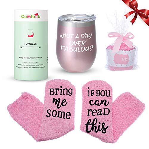 Comfook Funny Gifts Ideas Tumbler for Women Double Wall Vacuum Insulated Stainless Steel Stemless Not a Day Over Fabulous Durable Tumbler Glass 12oz with Fun socks(Rose Gold)