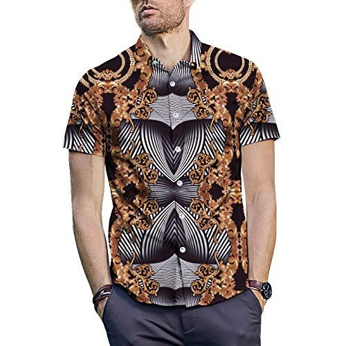 Herenhemd met knopen, luxe design, zomerkleding, druk, ronde hals, korte mouwen, casual top, disco, party, blouse, overhemd, getailleerd, casu