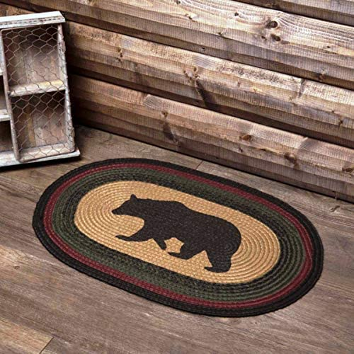 MIABE- Ranking TOP16 Primitive Rustic Cabin Lodge Black Bear MAT Floor Braided Excellence