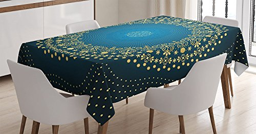 Ambesonne Mandala Decor Tablecloth by, Digital Moroccan Geometric Sign of Universe Folkloric Asian Heritage Design, Dining Room Kitchen Rectangular Table Cover, 60W X 90L Inches, Blue Yellow
