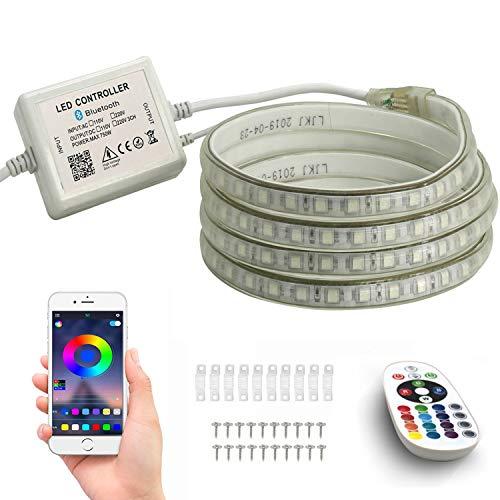 FOLGEMIR 15m RGB LED Streifen, Bluetooth kontrolliert Strip, 230V dimmbar Lichterkette, 5050 SMD 60 LEDs/m Farbwechsel Led Band, wasserdicht Lichtschlauch mit Trafo & 24-Tasten IR Fernbedienung