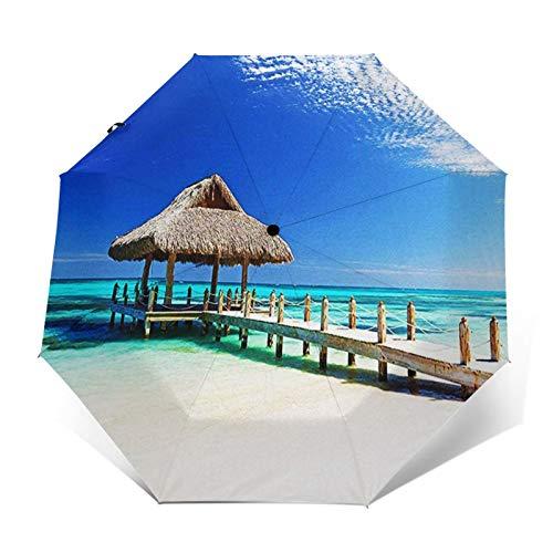 Regenschirm Taschenschirm Kompakter Falt-Regenschirm, Winddichter, Auf-Zu-Automatik, Verstärktes Dach, Ergonomischer Griff, Schirm-Tasche, Kappe Dominikanische Republik