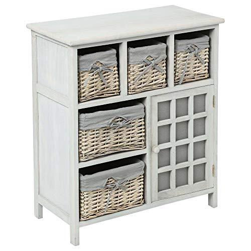 Atmosphera Mueble de madera con 5 cajones de cestas de mimbre con fundas lavables + 1 puerta
