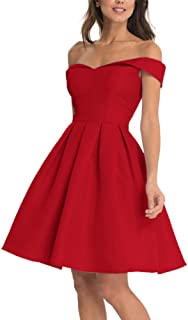 56ab7f1e1d LeoGirl Womens Off Shoulder Satin Fit and Flare Short Prom Dresses A-Line  Homecoming Cocktail