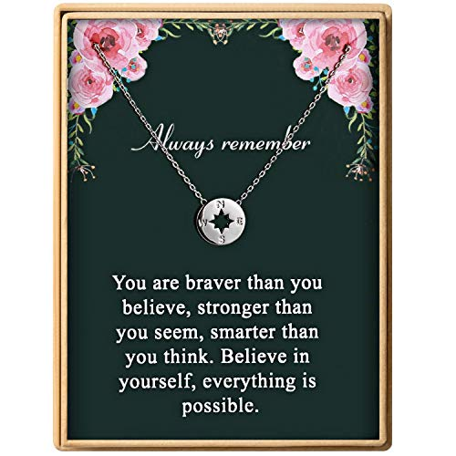 Monily Graduation Gift for Girl Dainty Compass Pendant Necklace for Women Always Remember You are Braver Stronger Smarter Than You Think