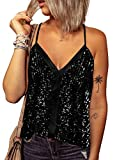 Zecilbo Womens Sleeveless Loose Fit Cute Shimmer Tank Tops V Neck Spaghetti Strap Sexy Sparkle Cami Tanks Black, X-Large