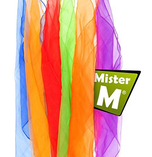 ✓6 Foulards, Certifiées CE- Rythmique/ Jonglerie / Foulards de danse avec vidéo de jonglage gratuite en ligne – par Mister M (6 couleurs)