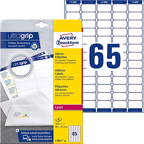 AVERY Zweckform L7651-25 Adressetiketten, Adressaufkleber (1.625 Etiketten mit ultragrip, 38,1x21,2mm auf A4, bedruckbar, selbstklebend, für Absenderetiketten, Papier matt) 25 Blatt, weiß