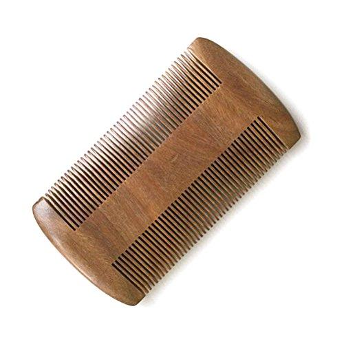 Frcolor Sandal barbe peigne, fait main double main fait double peigne à cheveux bois 10cm