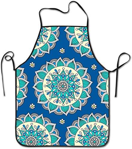 DUTRIX Delantal con Pechera Ajustable, Delantal Cosido, Azul Crema Mandala, Delantales de Cocina para cocinar para Mujeres, Hombres, Chef,