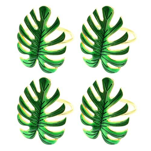 SOIMISS 4Pcs Guardanapo Anéis de Folhas de Palmeira Folha Verde Guardanapo Titulares Guardanapo Fivelas de Jantar Decoração de Mesa para O Casamento De Verão Do Partido Tropical Festa