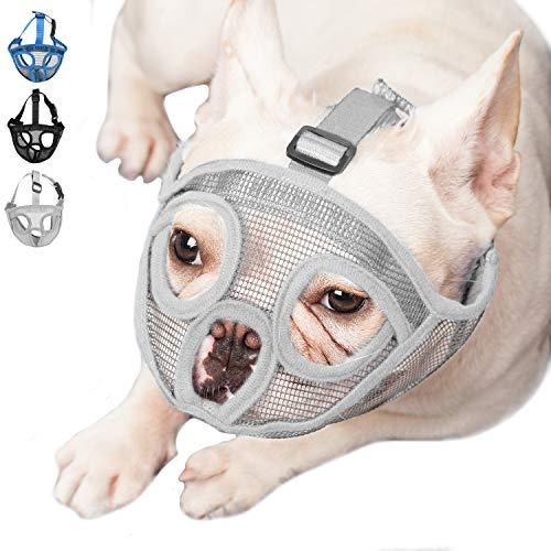 ILEPARK Bozal para Perros de Hocico Corto, Bozal Anti-Mordiscos y Ladridos, Máscara para Perros (M,Gris)