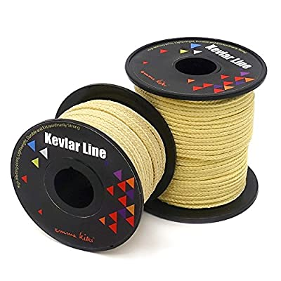 emma kites 100% Kevlar Braided String Utility Cord 100Ft 350Lb High Strength, Abrasion/Flame Resistant, Tactical Survival Fishing Assist Cord Model Rocket Paracord Trip Line Kite Camping Cordage