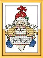 LovetheFamily サンタクロースとエルク 18×23cm DIY十字刺繍 手作り刺繍キット 正確な図柄印刷クロスステッチ 家庭刺繍装飾品 11CT 3ストランド(インチ当たり11個の小さな格子 3株ライン) 刺しゅうキット ホーム オフィス装飾 手芸 手工芸 キット 芸術 工芸 DIY 手作り 装飾品(フレームレス)