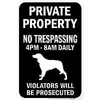 PRIVATE PROPERTY ブラックマグネットサイン:ブリタニースパニエル シルエット 英語 私有地 無断立入禁止