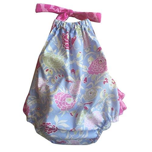Puseky Leuke Pasgeboren Baby Meisjes Halter Backless Gelaagde Tutu Romper Jumpsuit Bodysuit 18-24 Months Blauwe Bloem