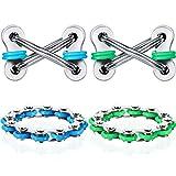 4 Pieces 12-Roller Bike Chain Fidget Toy Flippy Chain Stress Reducer Key Chain Fidget Toy for Autism ADD ADHD Sensory Kids (Green, Blue Series)