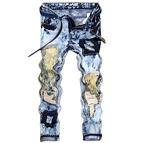 ShSnnwrl Straight Vaqueros para Hombre Jeans Hombres Vintage Hip Hop Streetwear Distressed Light Blue Patch Bordado Casual Ripped High