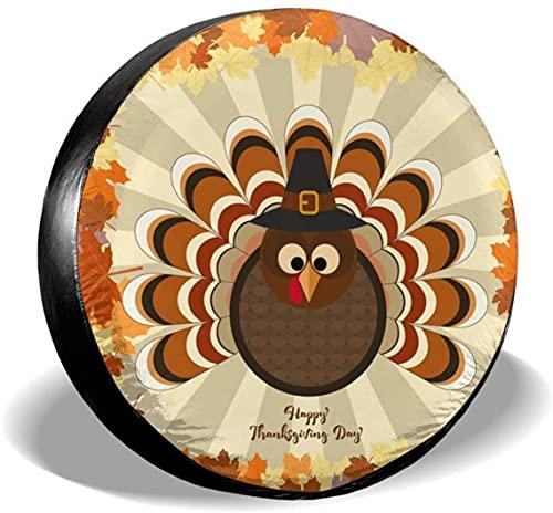 Cute Turkey in Thanksgiving Cubierta de neumático de repuesto,poliéster Universal 17 pulgadas Cubierta de neumático de repuesto para remolque,RV,SUV,camión,camión,camioneta,viaje,remolque,accesorios