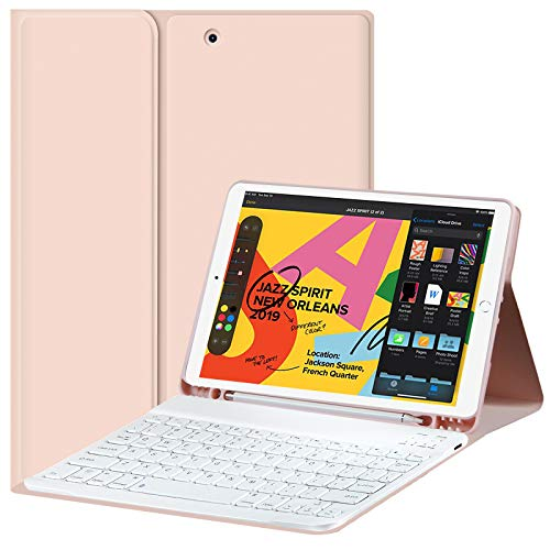 iPad 10.2 inch Case with Keyboard for New iPad 8th Generation (2020)/7th Gen (2019),Detachable Wireless Keyboard Case with Pencil Holder,Smart Folio Cover for Apple Tablet,Auto Sleep/Wake