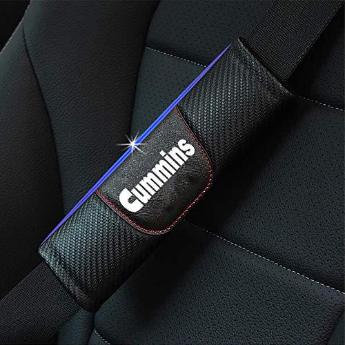 ZXCV 2 Fundas Coche Almohadillas Cinturón Fibra Carbono, para Dodge Ram Cummins Hombro Correa Protector Seguridad con Logo Auto Interior Accesorios