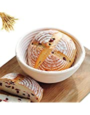 Cesto de fermentación, el tubo de fermentación, cesta redonda para pan y masa, cuenco para pan, cesta de fermentación con forro de lino, cesta redonda de 22 cm, cesta de fermentación para hornear pan