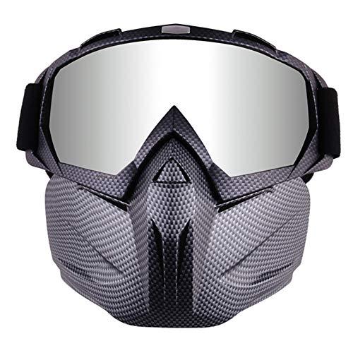 TZTED Mortorcycle Abnehmbaren Schutzbrille und Mund Filter für Outdoor Fahrrad Dirtbike Motocross Off-Road Goggle,Schwarz