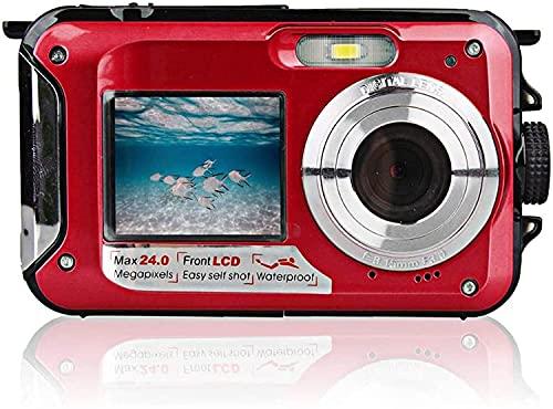 HAO KEAI Videocámara Cámara de Video Pantallas Dobles a Prueba de Agua a Prueba de Golpes Digitales 2 4MP Cámara Dual a Todo Color LCD Muestra videocámara FHD 108 Grabadora de Video 0p (Color : Rojo)