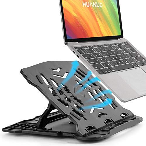 HUANUO Adjustable Laptop Stand - Portable Laptop Stand Riser for Desk, Foldable Laptop Riser with 360° Swivel Base, 7 Angles Adjustable Computer Stand, Ventilated Cooling Desktop Laptop Holder