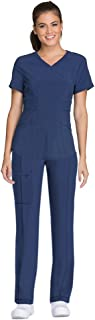 Cherokee Infinity Women's Scrub Set - CK623A V-Neck Top & 1123A Low Rise Straight Leg Drawstring Pant