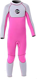 Full Body Kids Wetsuit Neoprene One Piece Warm Swimsuit 2.5MM for Girls Boys Children, Long Sleeve UV Protection Swimming Suit Back Zip for Surfing Scuba Snorkeling Diving Fishing