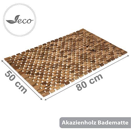PANA Badematte 100% Akazienholz I Badvorleger rutschfest I Holzbadematte aus geöltem Echtholz I 80 x 50 cm