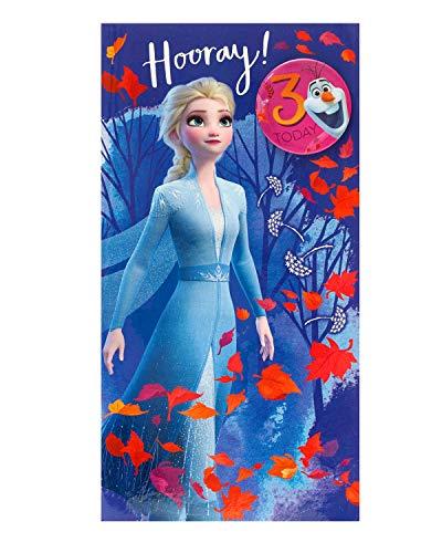 Geburtstagskarte zum 3. Geburtstag für Mädchen – Die Eiskönigin – Karte zum 3. Geburtstag – Prinzessin Elsa Design – Anstecker enthalten