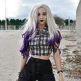 RainaHair Peluca de sirena de 24 pulgadas con encaje frontal rubio, peluca sintética de color morado para mujer, peluca de drag, reina, lila, lavanda, cosplay