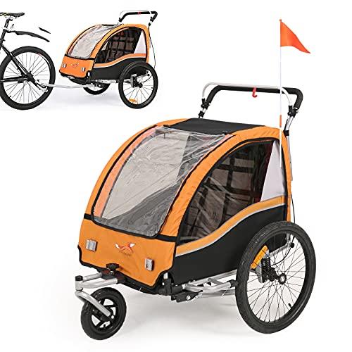 Fiximaster 2020 V2 multifunktion 2 in 1 Fahrradanhänger/Kinderwagen 360 ° drehbar Baby Buggy Fahrradanhänger mit Lenker und Federung orange BT503 Neu