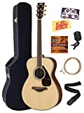 Yamaha FS830 Solid Top Small Body Acoustic Guitar - Natural Bundle with Hard Case, Tuner, Strings, Strap, Picks, Austin Bazaar Instructional DVD, and Polishing Cloth