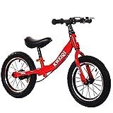 Bicicleta Balance Sin Pedales, Bici con Ruedas De 14' para Niños De 3-7 Años, Balance Bici con Sillín Ajustable, Neumáticos Inflables para Aprendizaje De Equilibrio (Máximo 30 Kg),Rojo