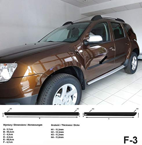 Spangenberg, bandes de protection latérales noires, compatible avec Dacia Duster I SUV ans de construction 04.2010-12.2017 F3 (3700003)