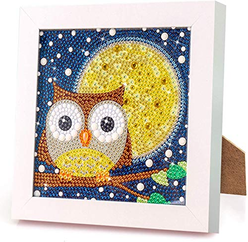 Rayber Juego de pintura de diamantes 5D con diseño de búho, para niños con marcos de madera, manualidades, decoración de pared del hogar, 18 x 18 cm