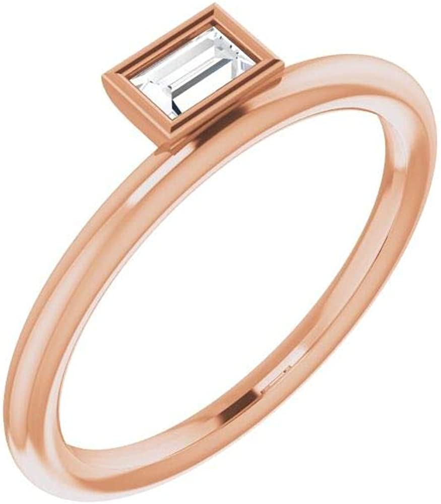 Solid 14k Rose Gold Solitaire 1/6 CT Diamond Asymmetrical Stackable Wedding Anniversary Ring Band