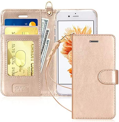 """FYY Luxury PU Leather Wallet Case for iPhone 6/6s, [Kickstand Feature] Flip Phone Case Protective Shockproof Folio Cover with [Card Holder] [Wrist Strap] for Apple iPhone 6/6s 4.7"""" Rose Gold"""