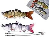 Njord Kalastus Juego de 2 señuelos artificiales para pesca de peces depredadores, en caja, con articulación para carrera realista, 10 cm, 18 g, lentamente hundido, claro y oscuro