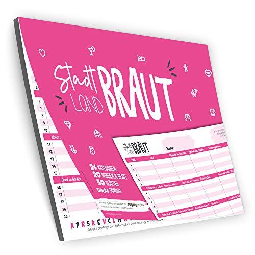 bigdaygraphix Stadt Land Fluss Braut Partyspiel zum Junggesellinnenabschied | 50 Seiten A4 Block Gesellschaftsspiel | witziges Spiel JGA pink rosa
